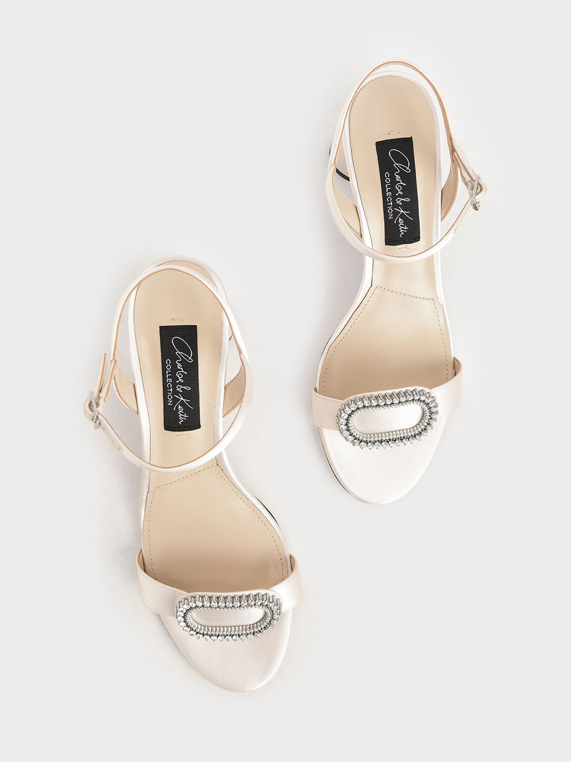 婚禮系列:華麗碎鑽粗跟涼鞋, 白色, hi-res