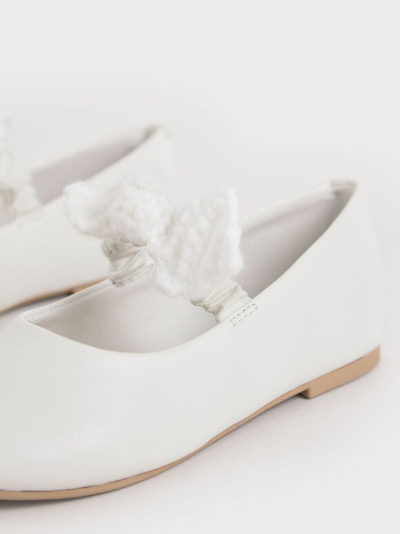 Girls' Crochet Bow Mary Jane Flats, White, hi-res