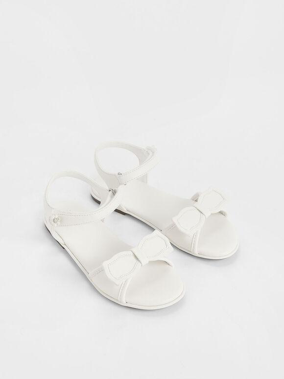 Girls' Bow Detail Open Toe Sandals, White, hi-res