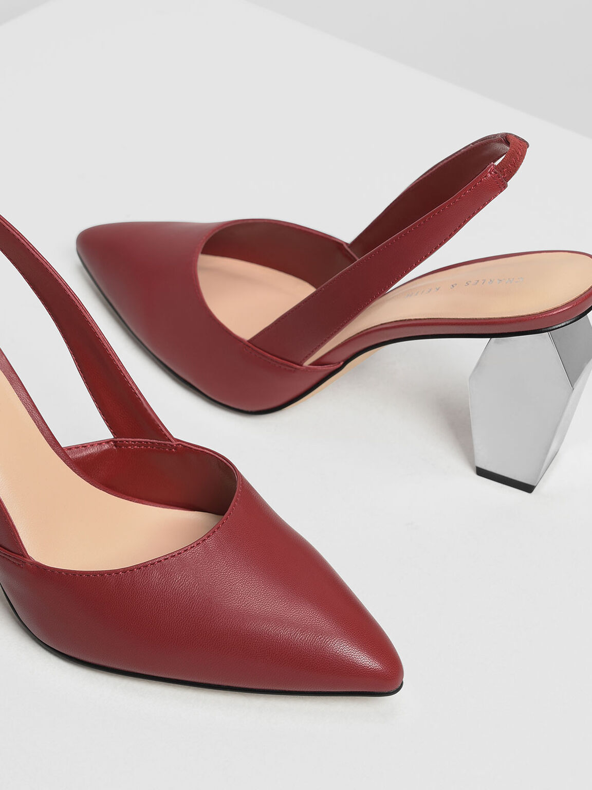 Geometric Chrome Heel Slingbacks, Red, hi-res