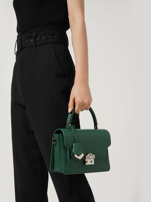 Metal Buckle Top Handle Bag, Dark Green, hi-res
