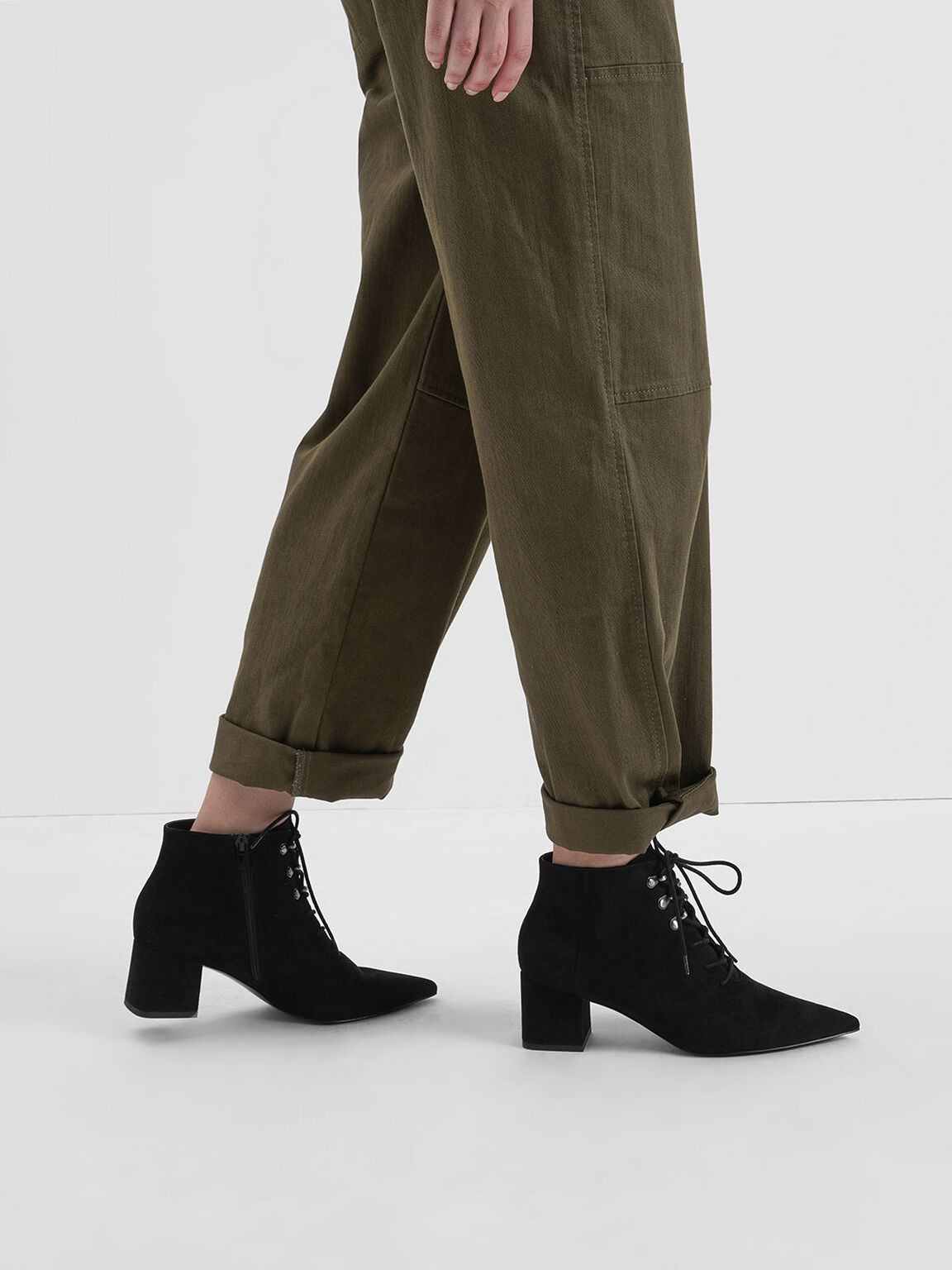 Textured Lace-Up Ankle Boots, Black, hi-res