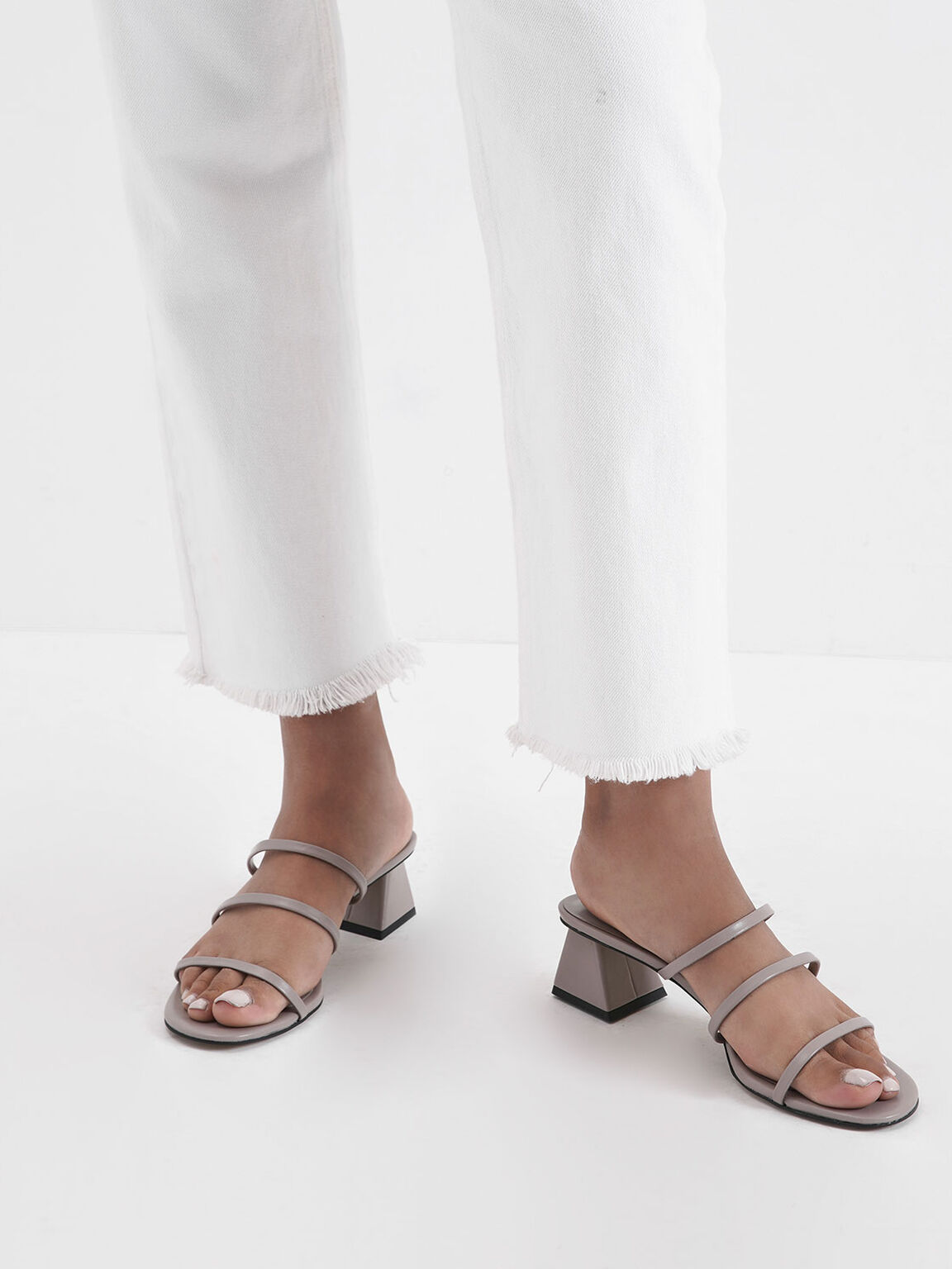 Triple Strap Slide Sandals, Nude, hi-res