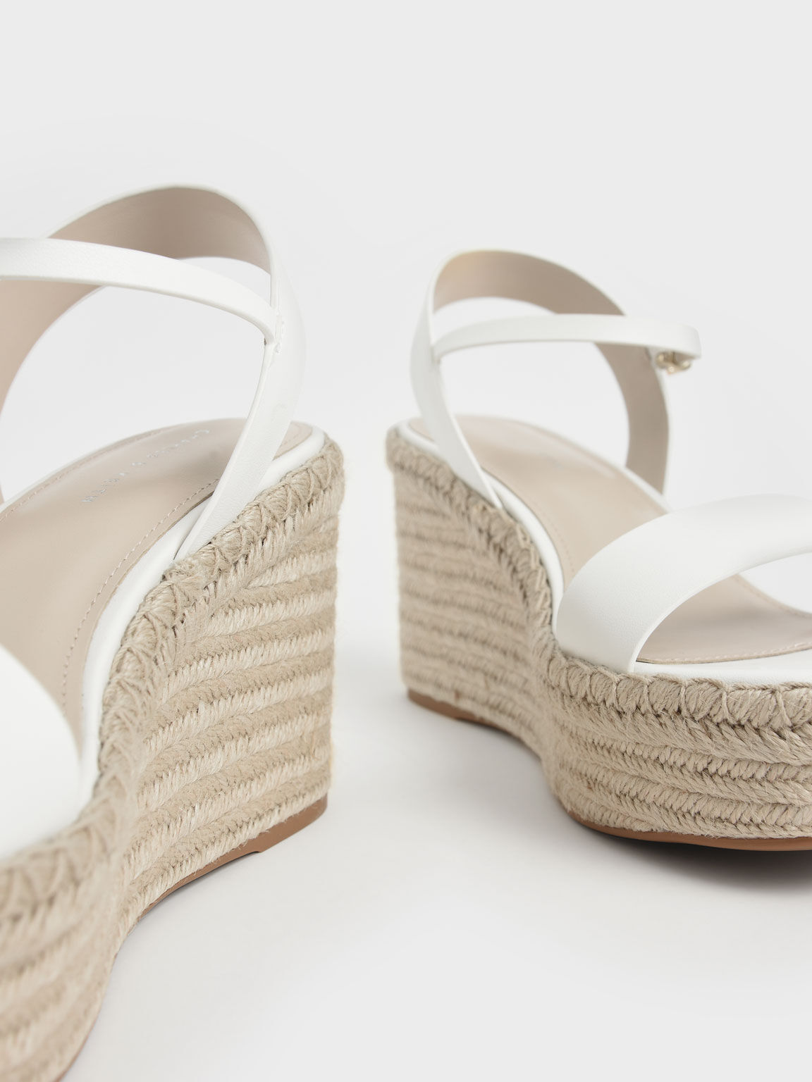 Ankle Strap Espadrille Wedges, White, hi-res