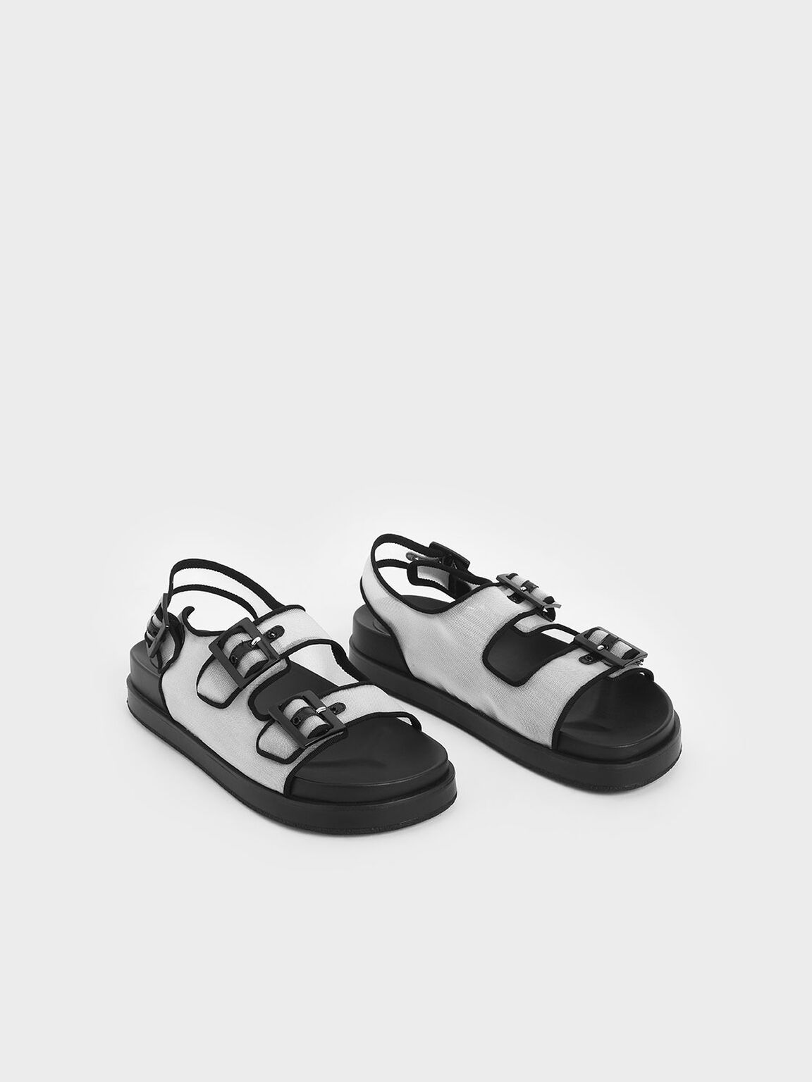 Mesh Flatform Sandals, White, hi-res