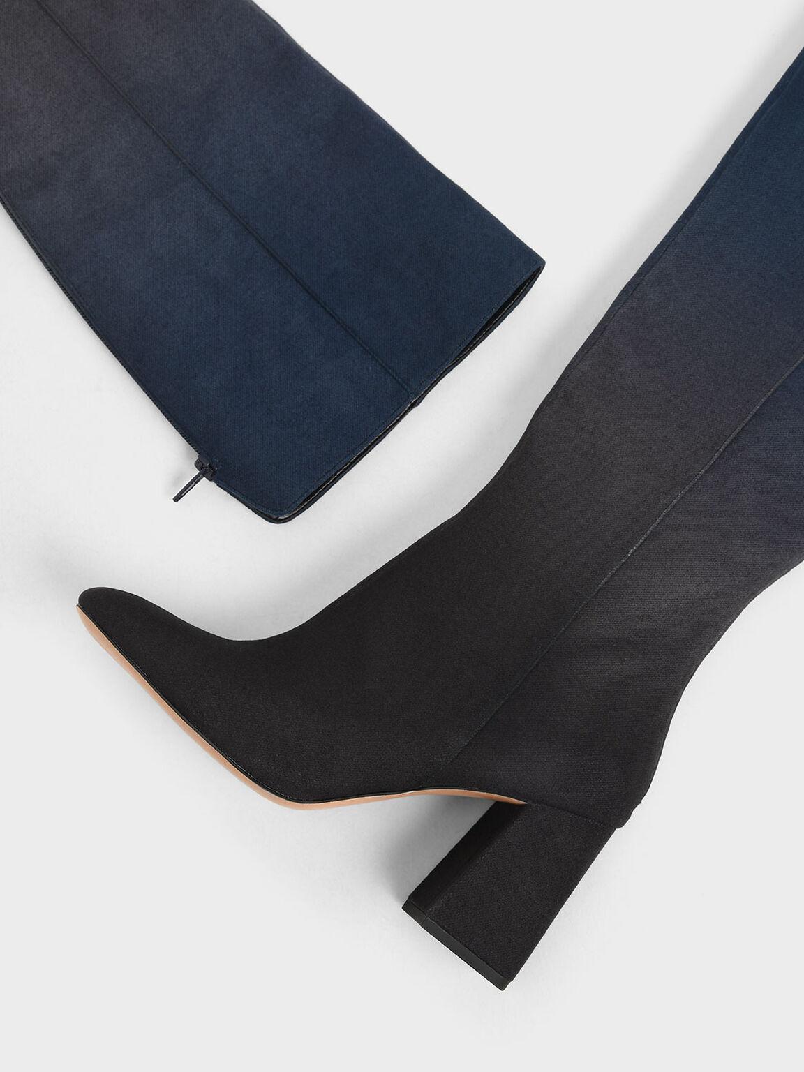 Multicoloured Felt Knee High Boots, Dark Blue, hi-res