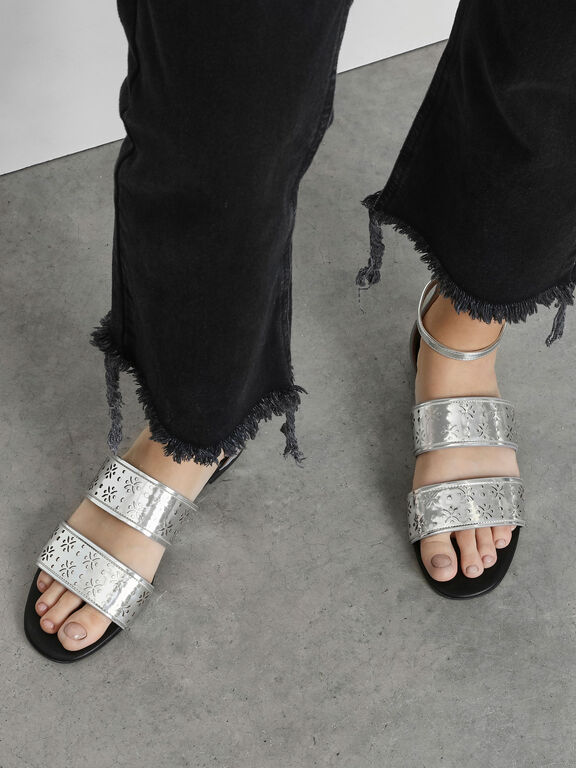 Double Bar Motif Sandals, Silver