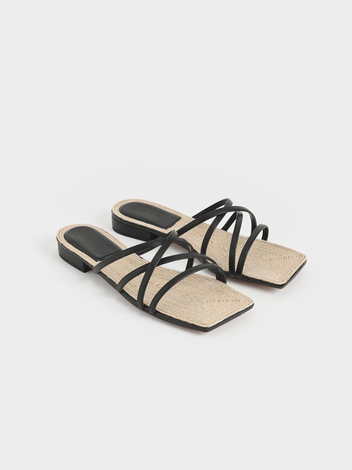 Strappy Square Toe Sandals, Black, hi-res