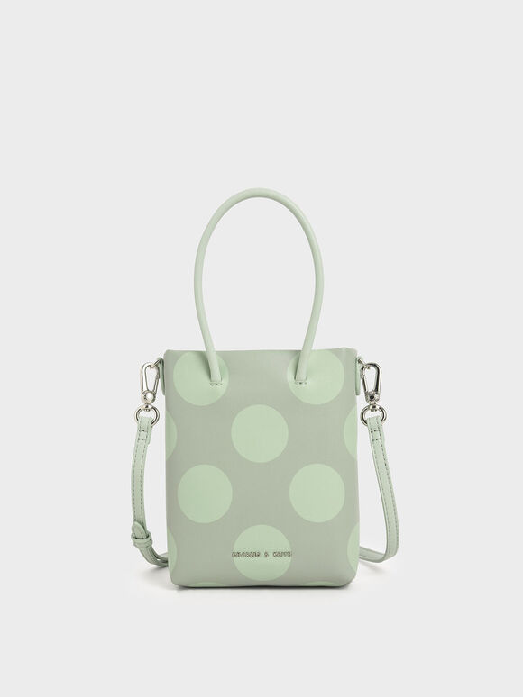 Girls' Dot Motif Tote Bag, Sage Green, hi-res