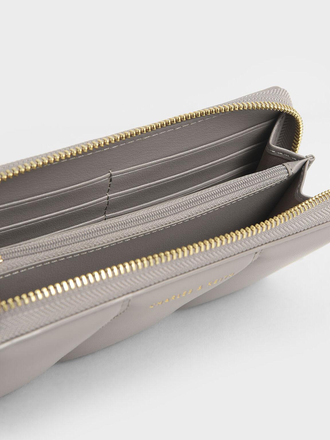 Mini Zip Around Quilted Tassel Wallet, Sand, hi-res