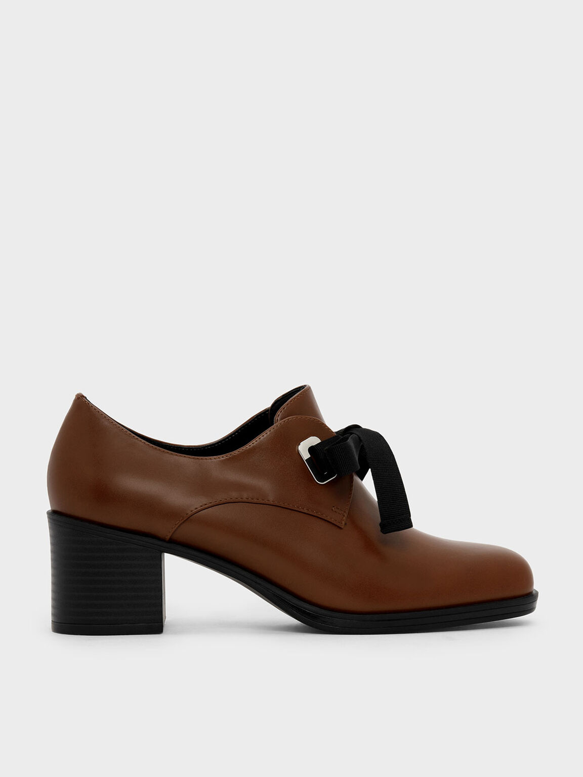 Stacked Heel Oxfords, Brown, hi-res