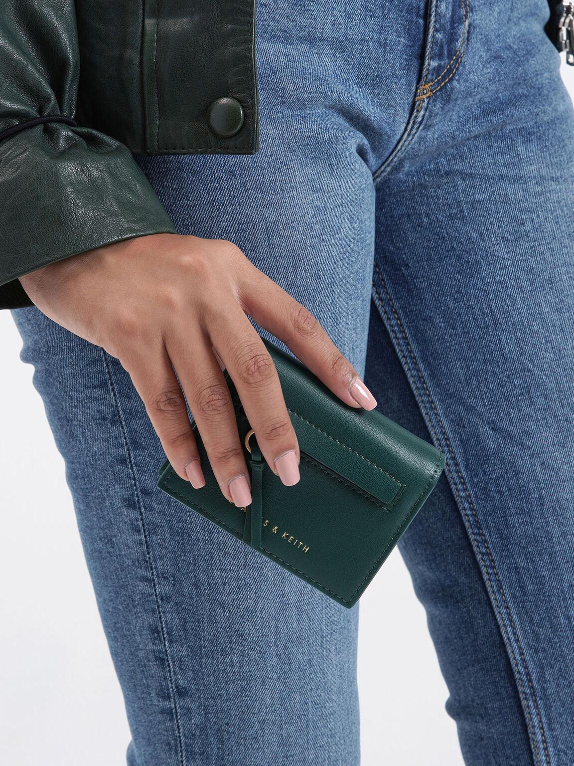 Front Zip Card Holder, Dark Green, hi-res