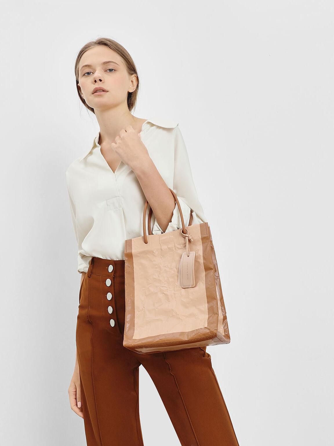 Crumpled Effect Tote Bag, Beige, hi-res