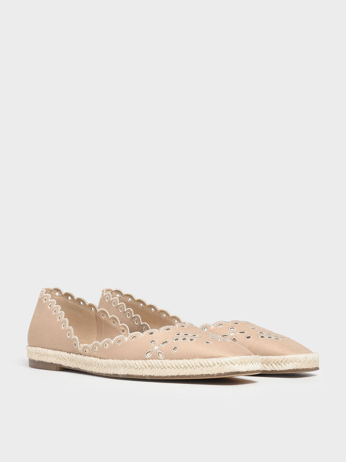 Scalloped Espadrille Covered Flats, Beige, hi-res