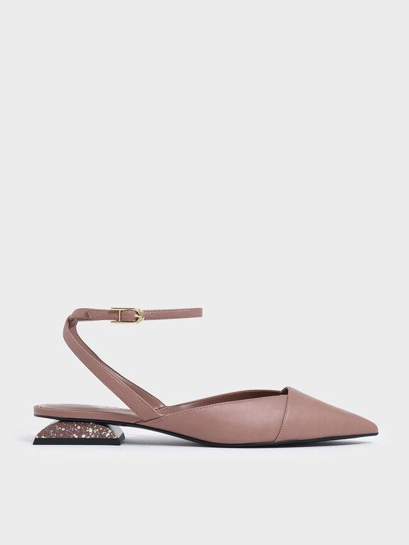 Terrazzo Print Sculptural Heel Pumps, Pink