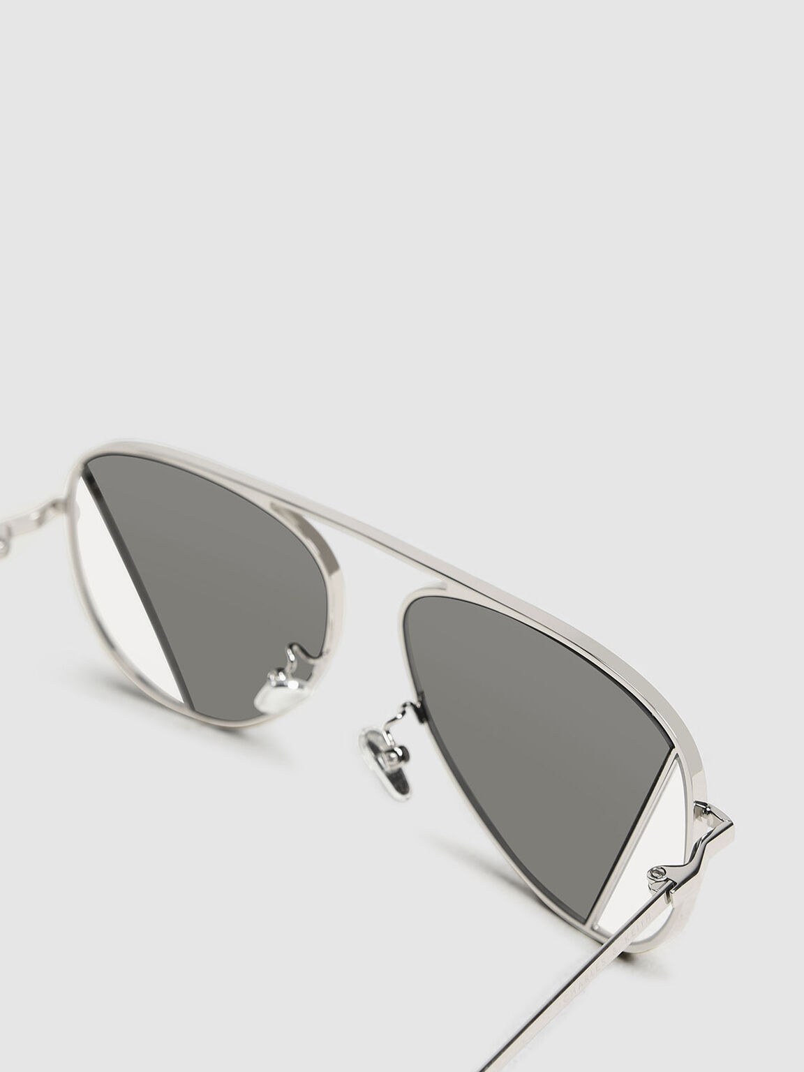 Two-Tone Aviator Sunglasses, Silver, hi-res