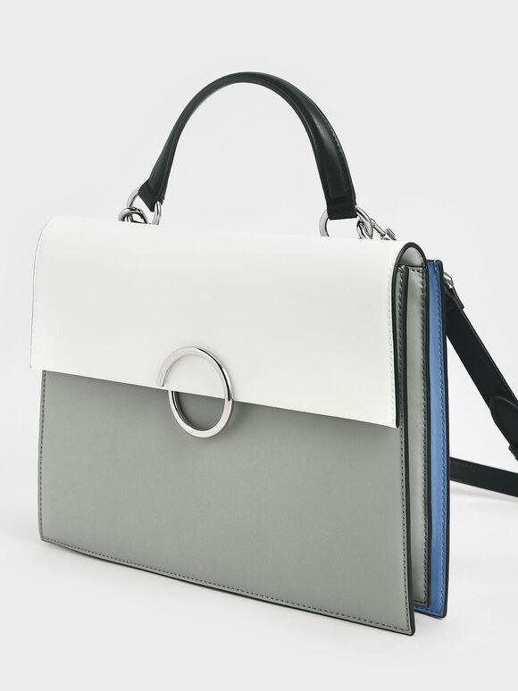 Ring Detail Large Top Handle Bag, Grey, hi-res