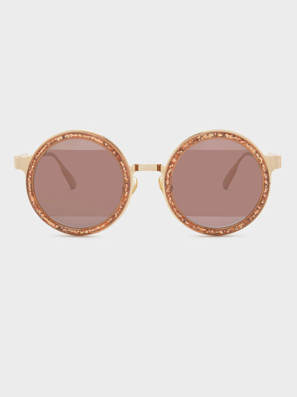 Round Frame Sunglasses, Pink, hi-res