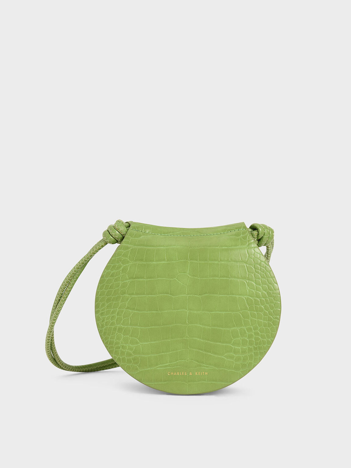 Semi Circle Croc-Effect Crossbody Bag, Green, hi-res