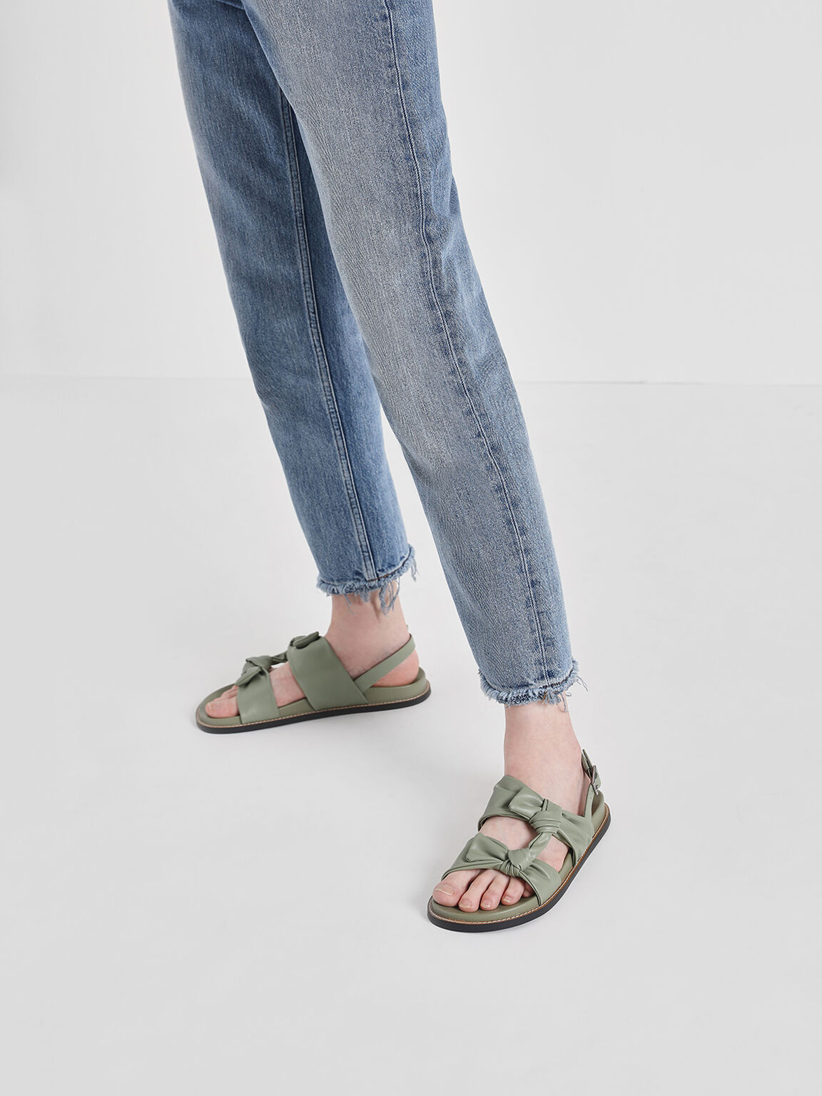 Double Knotted Slingback Sandals, Sage Green, hi-res