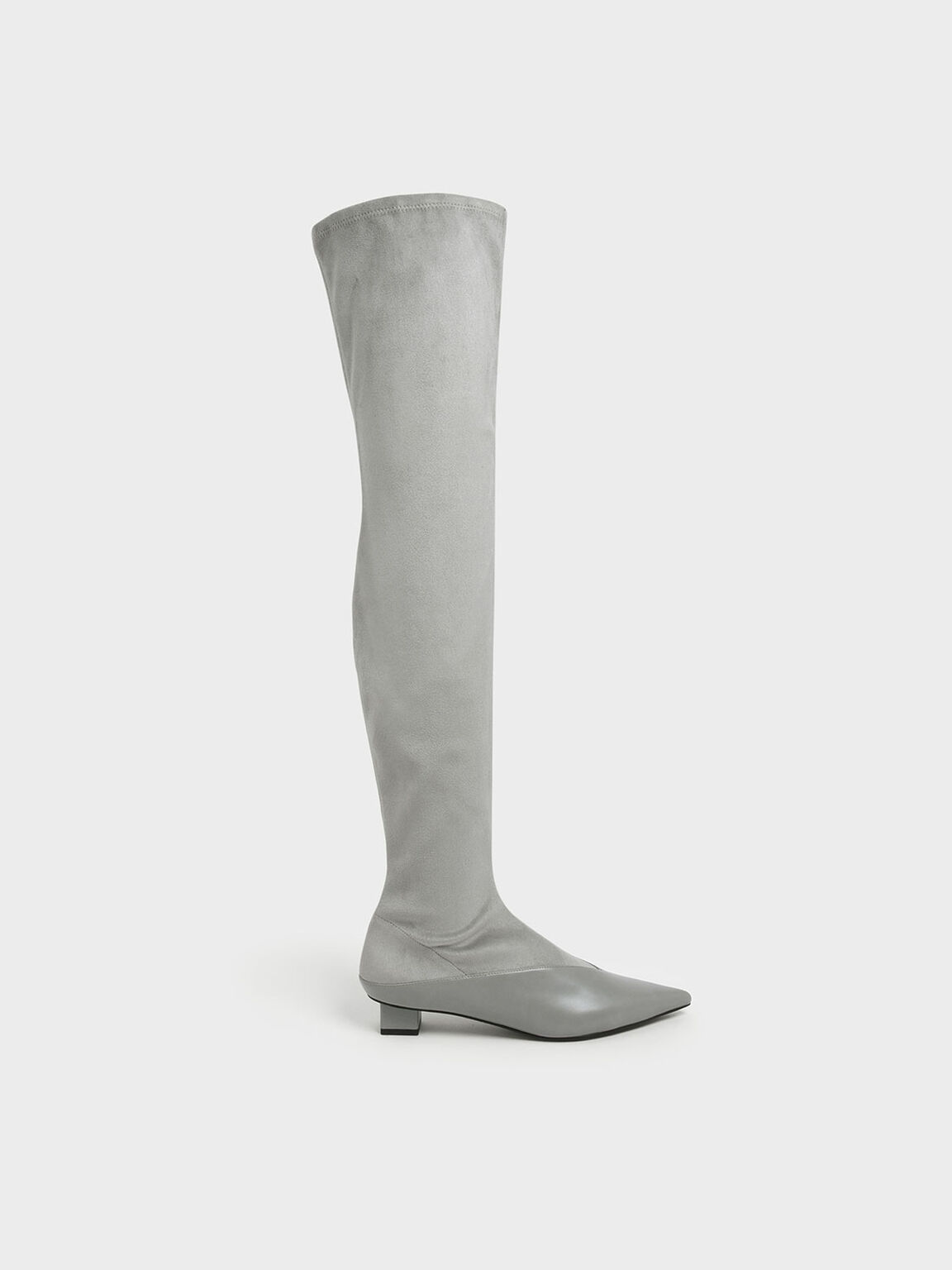 Thigh High Low Block Heel Sock Boots, Grey, hi-res