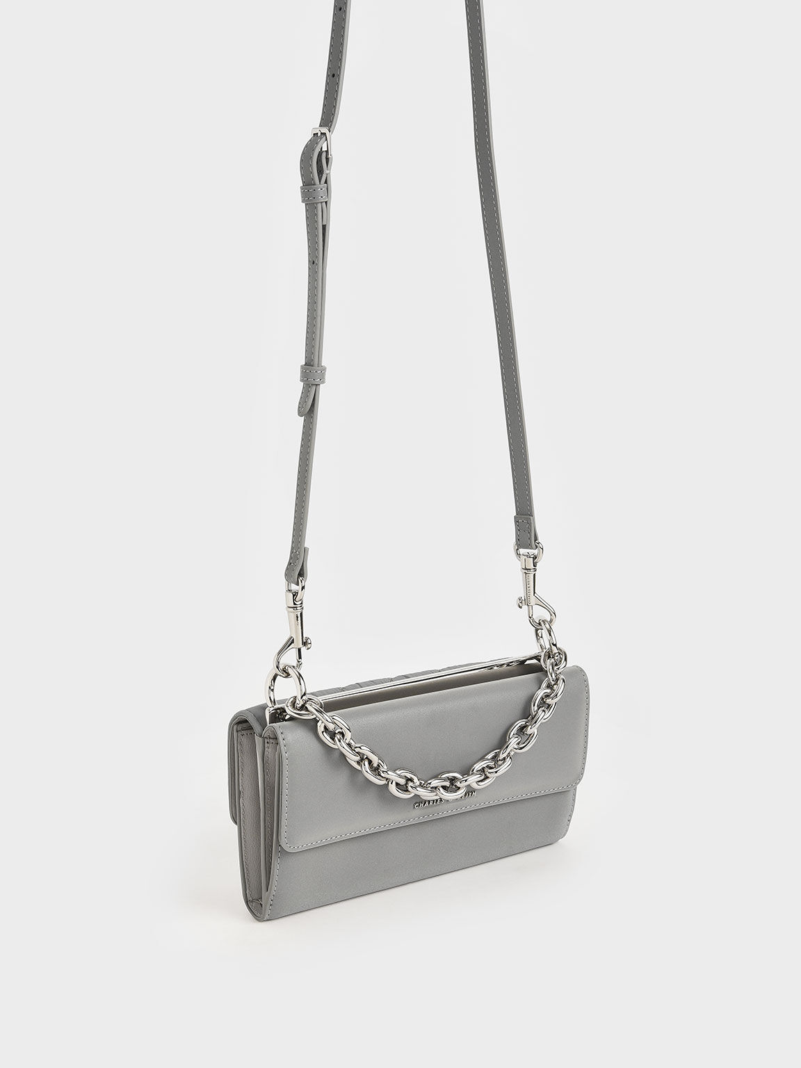 Nylon Panelled Chain Handle Wallet, Grey, hi-res