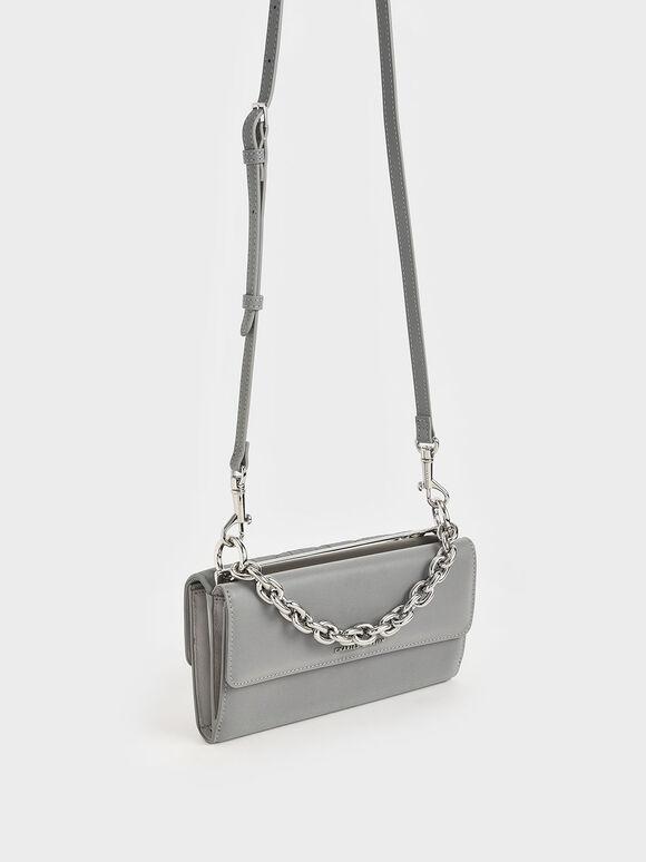 Nylon Panelled Chain Handle Wallet, Grey, hi-res