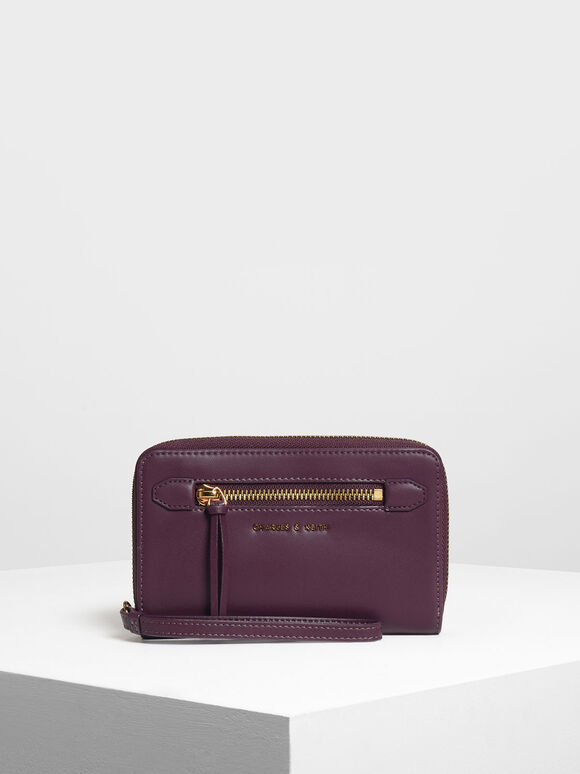 Zipped Wristlet, Purple, hi-res