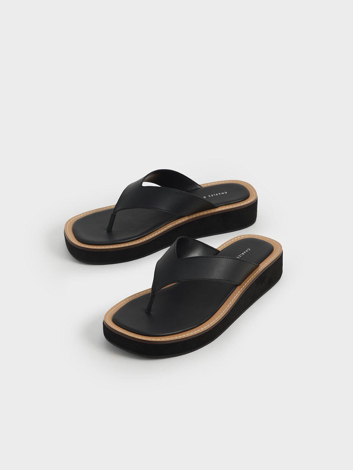 Platform Thong Sandals, Black, hi-res