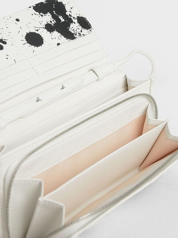 Printed Front Flap Long Wallet, White, hi-res