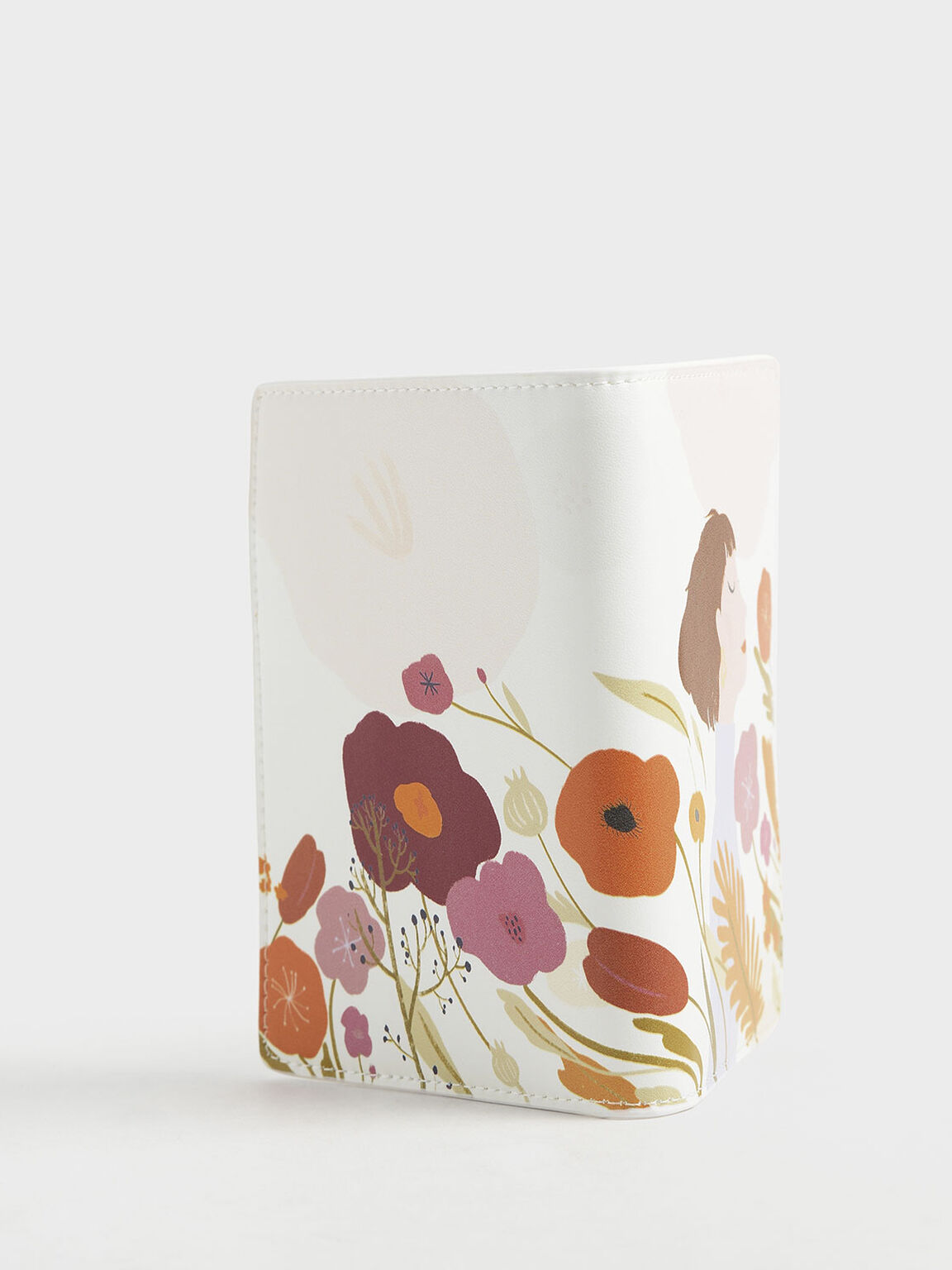CHARLES & KEITH by Oamul Lu: Floral Illustration Passport Holder, White, hi-res