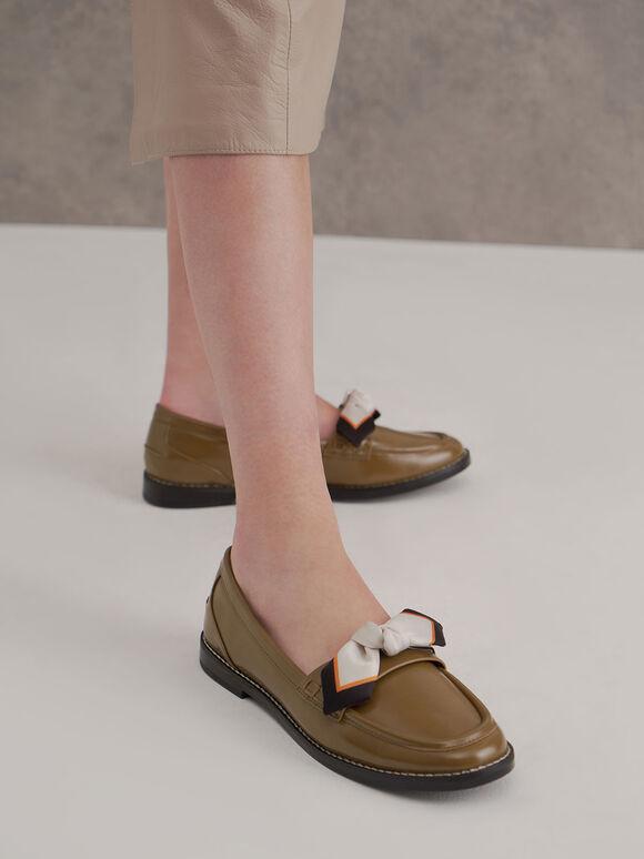 蝴蝶結樂福鞋, 橄欖色, hi-res