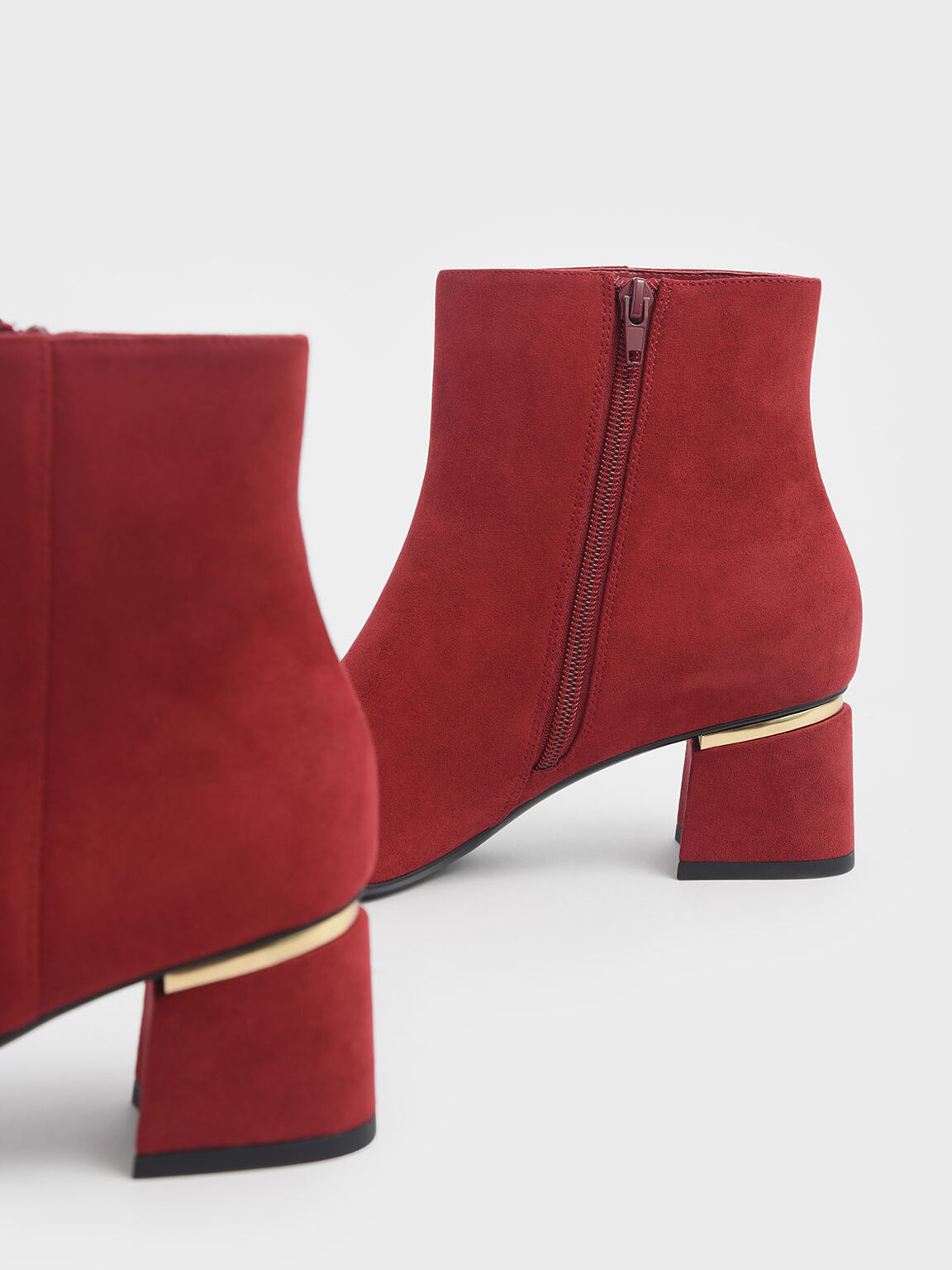 Metal Accent Block Heel Textured Ankle Boots, Red, hi-res