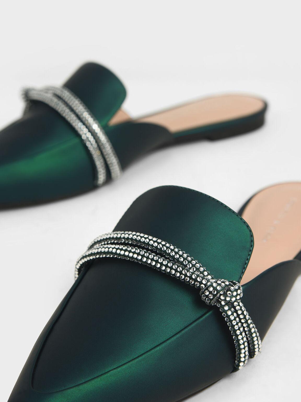 Embellished-Knot Mules, Dark Green, hi-res