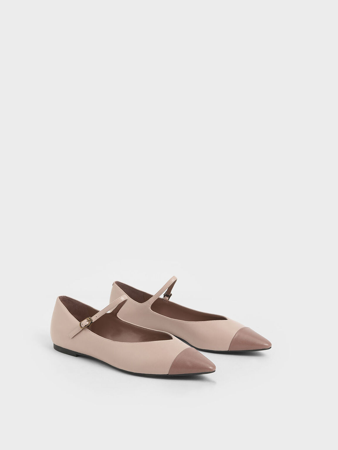 Two-Tone Pointed Toe Mary Jane Flats, Nude, hi-res