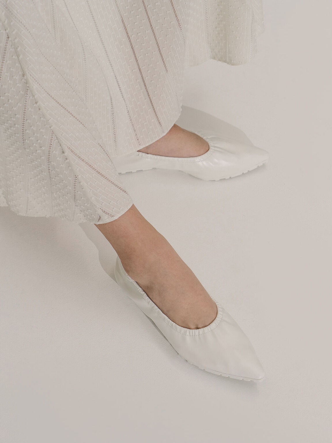 Ruched Ballerina Flats, White, hi-res