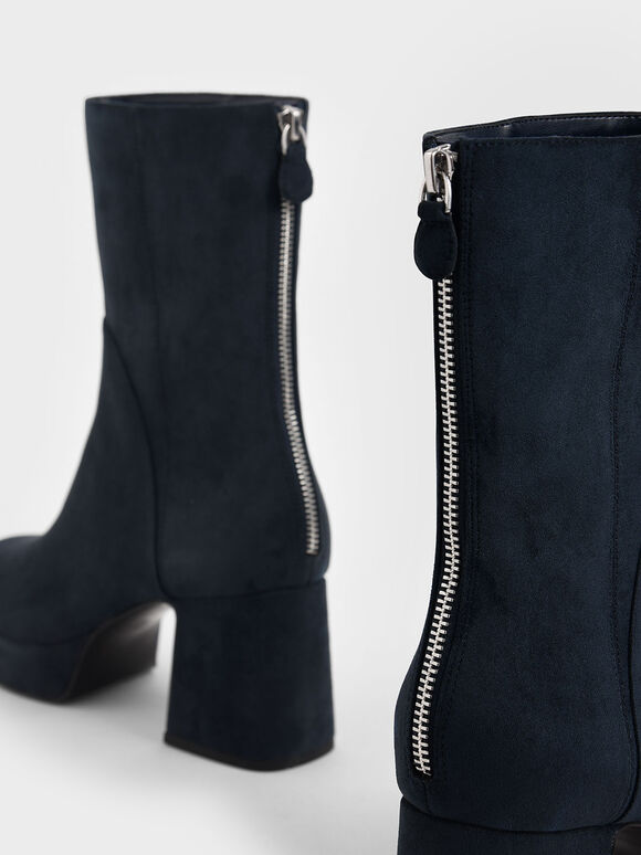 Textured Platform Ankle Boots, Dark Blue, hi-res