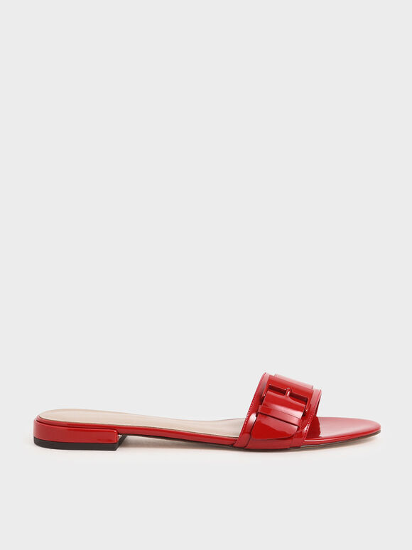 Buckle Strap Patent Slide Sandals, Red, hi-res