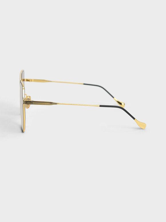 幾何細框墨鏡, 黑色, hi-res