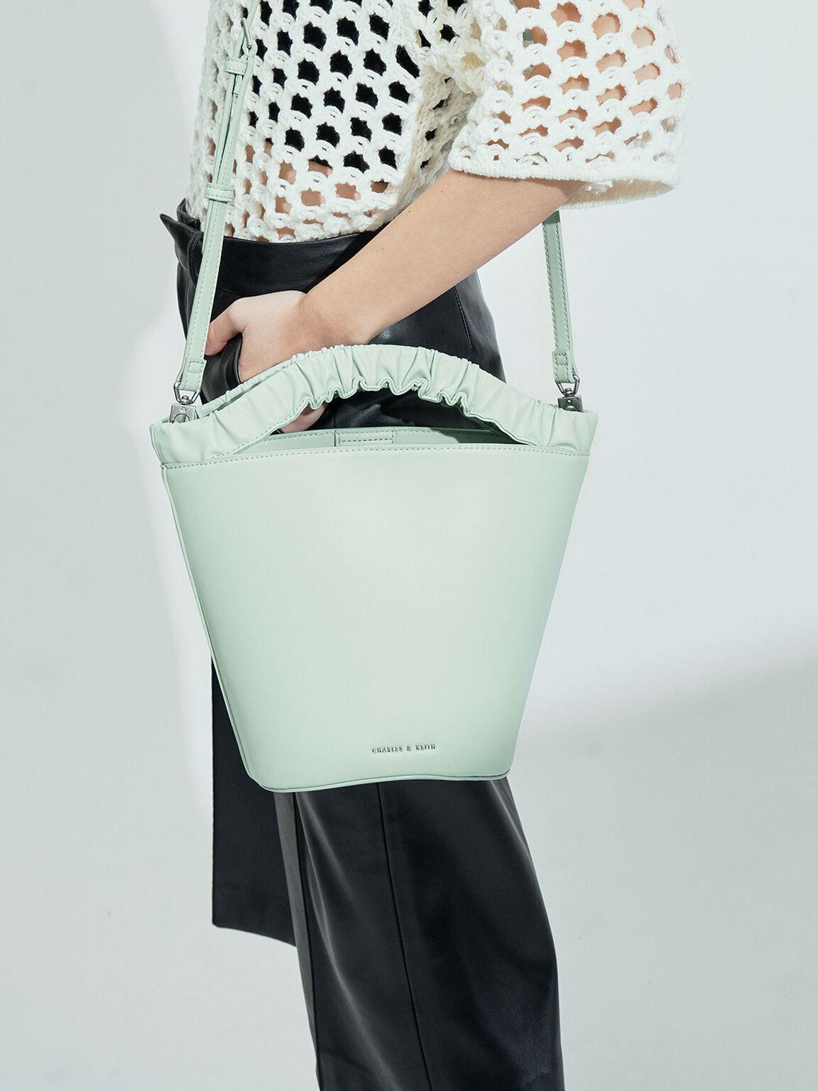 Pleated Handle Bucket Bag, Mint Green, hi-res