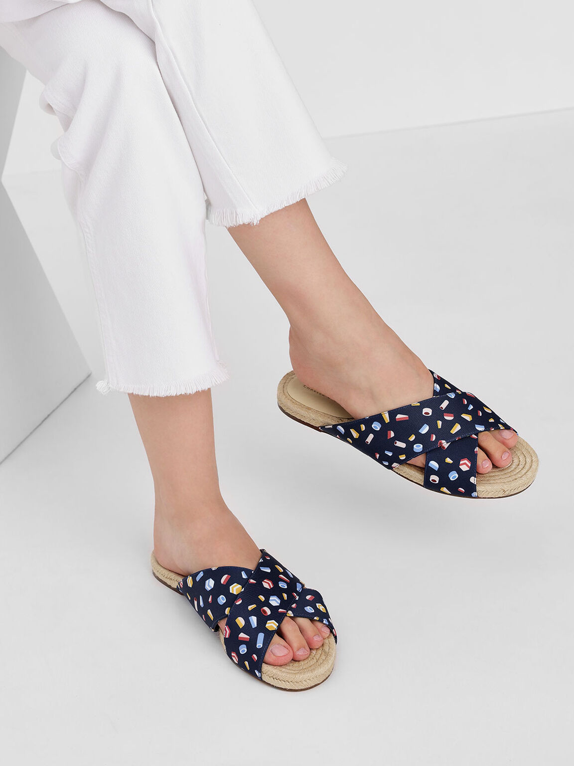 印花交叉帶麻底拖鞋, 深藍色, hi-res