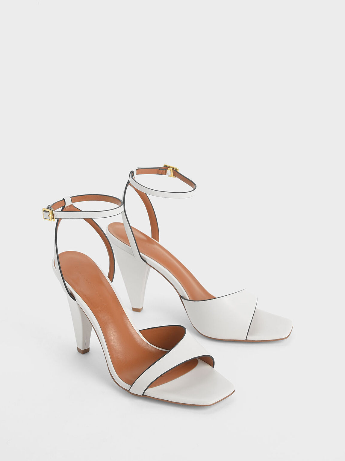 Asymmetric Strap Cone Heel Sandals, White, hi-res