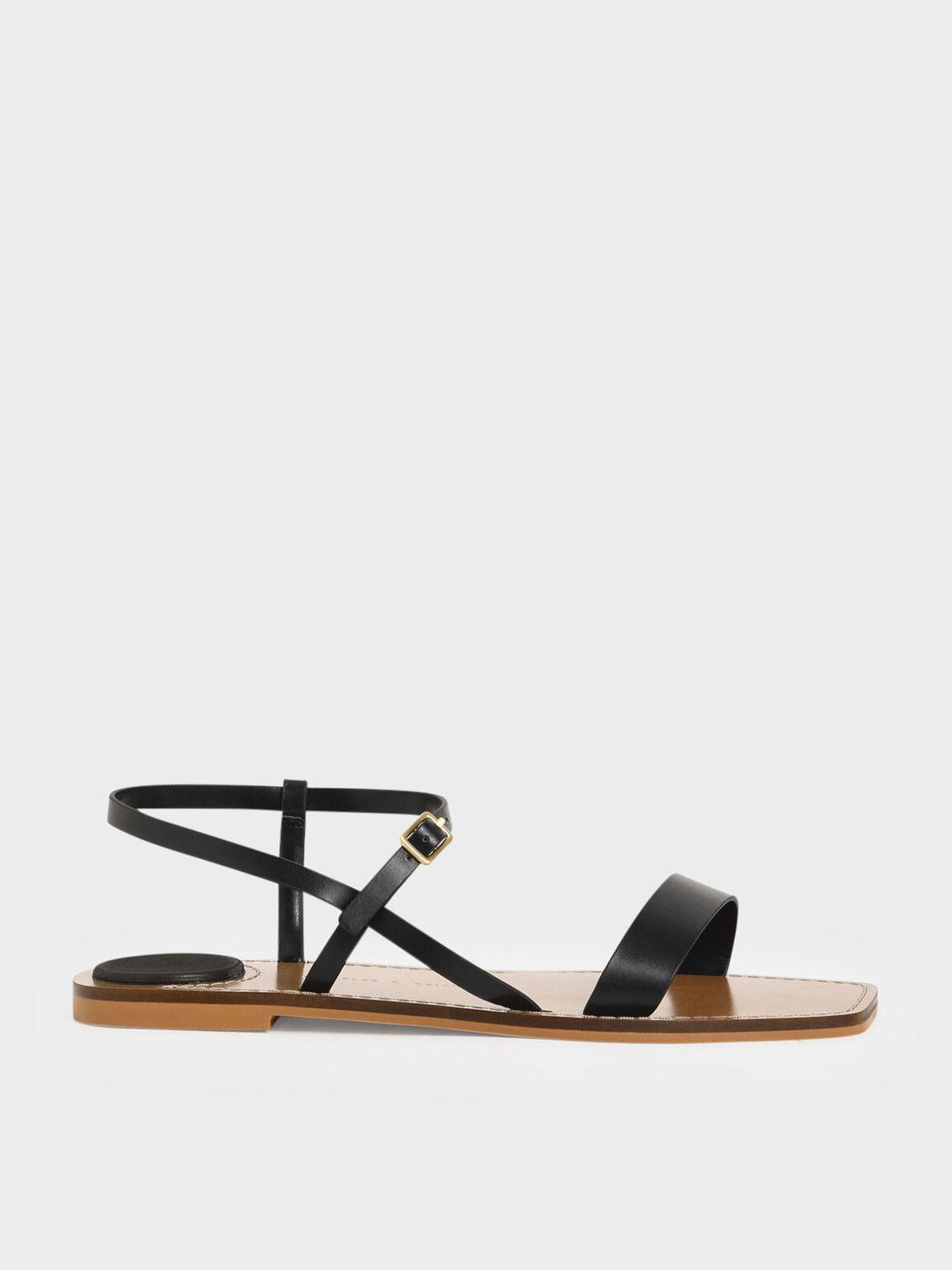 Ankle Strap Flat Sandals, Black, hi-res