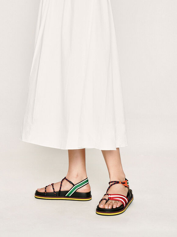 Multicoloured Grosgrain & Rope Flatform Sandals, Multi, hi-res