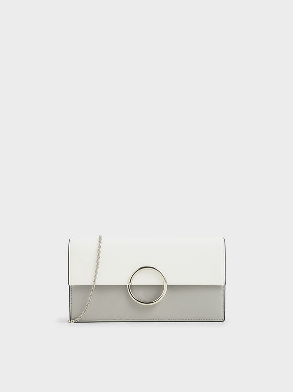 Two-Tone Ring Detail Long Wallet, Grey, hi-res