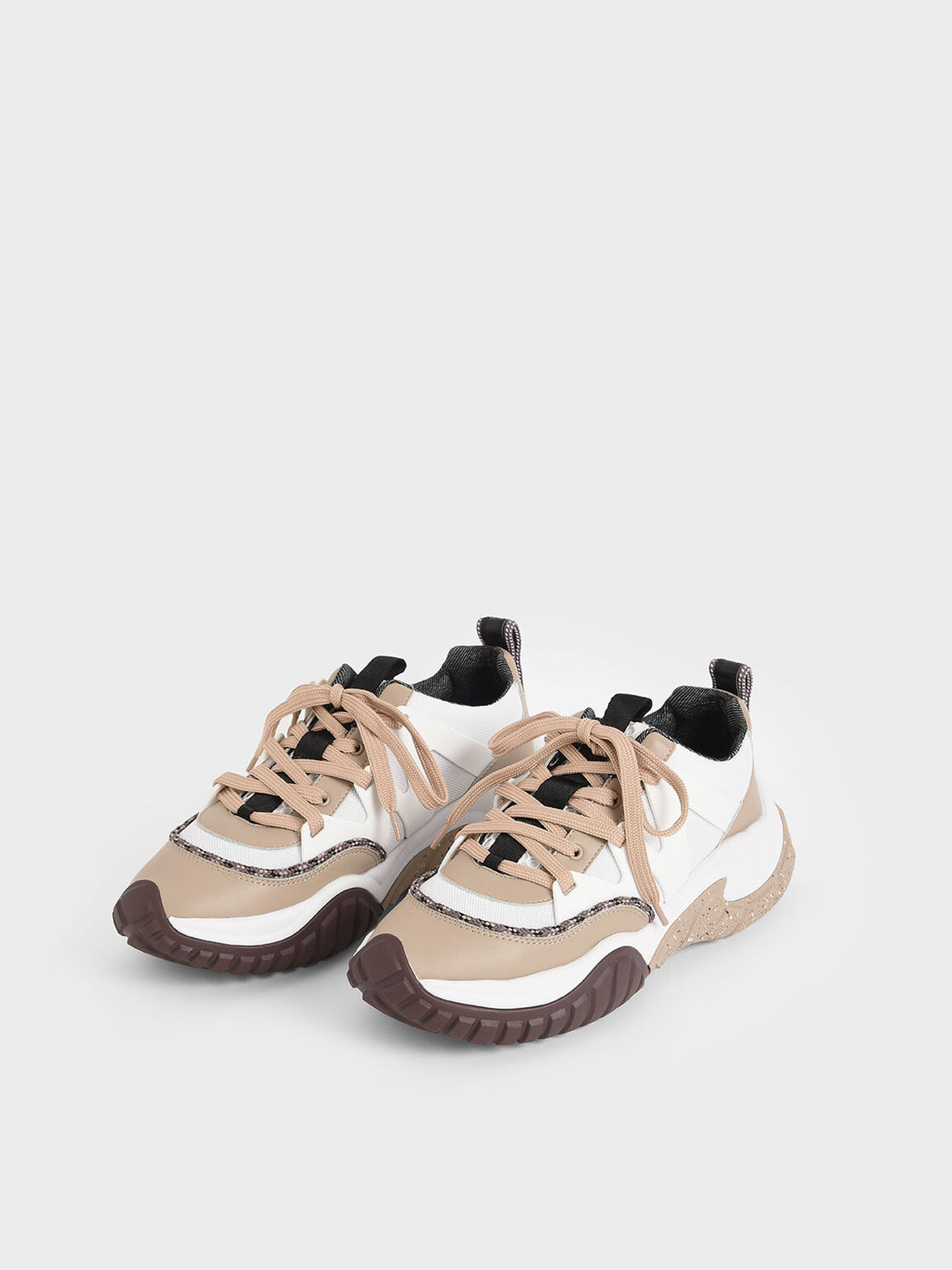 Mesh & Netting Chunky Sneakers, Nude, hi-res