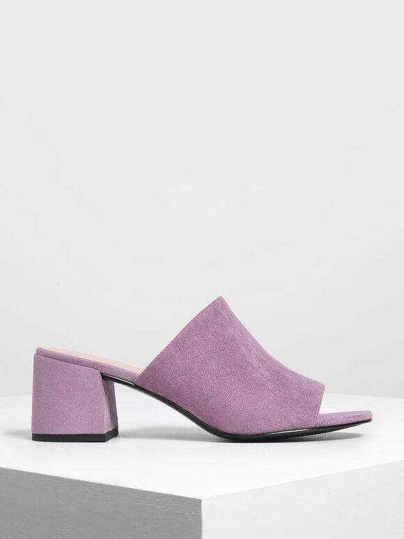 Suede Block Heel Slide Sandals, Lilac, hi-res