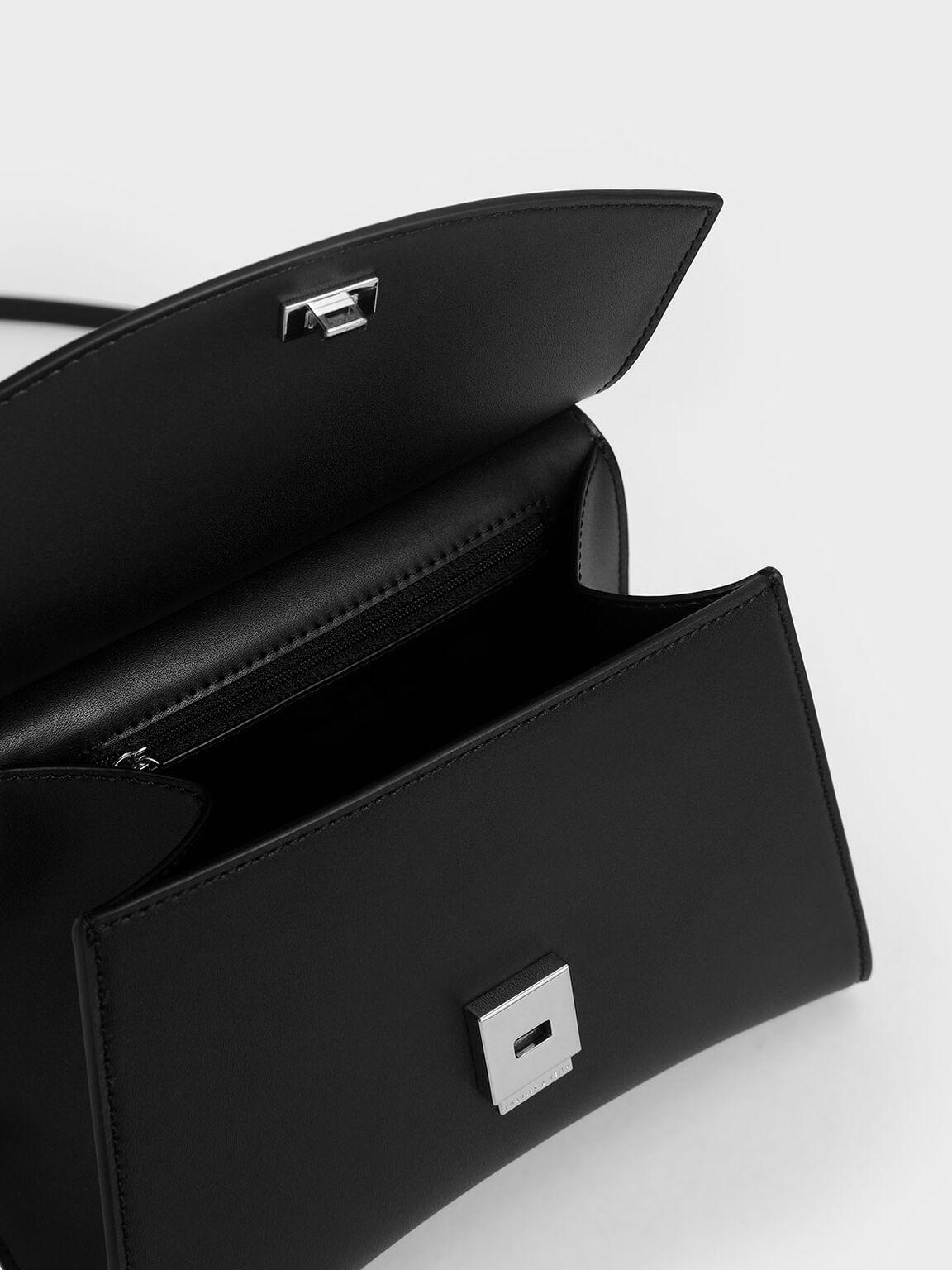 Acrylic Handle Sculptural Bag, Black, hi-res