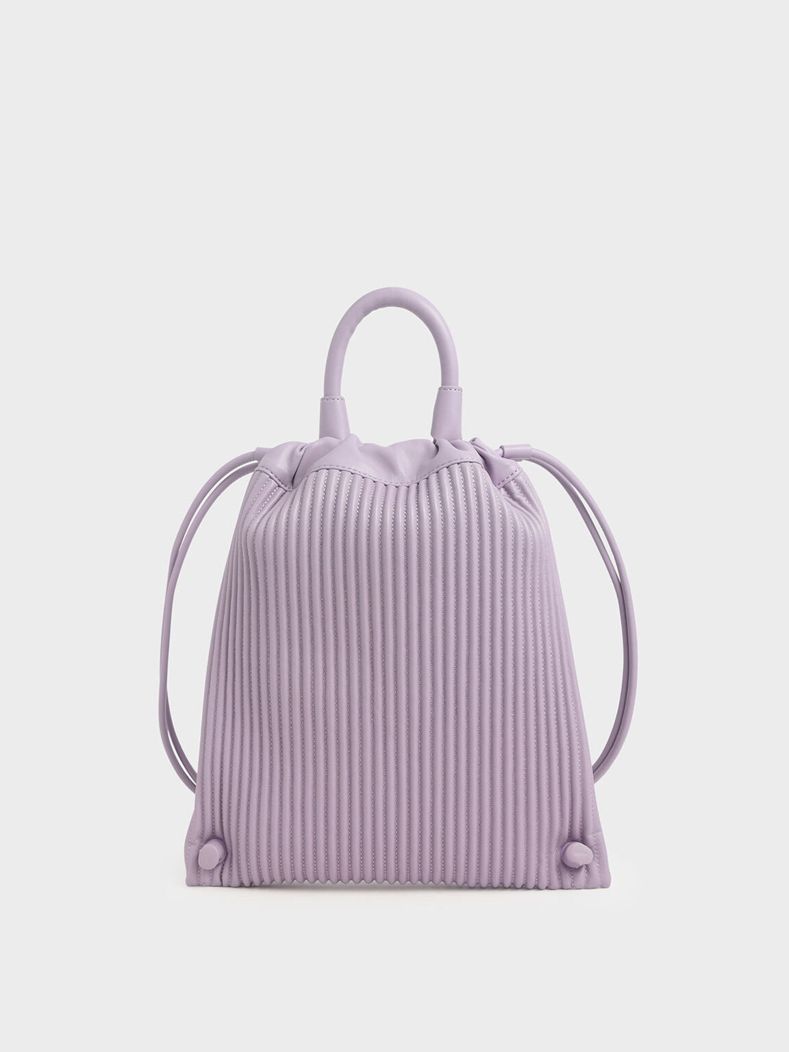 Textured Drawstring Backpack, Lilac, hi-res