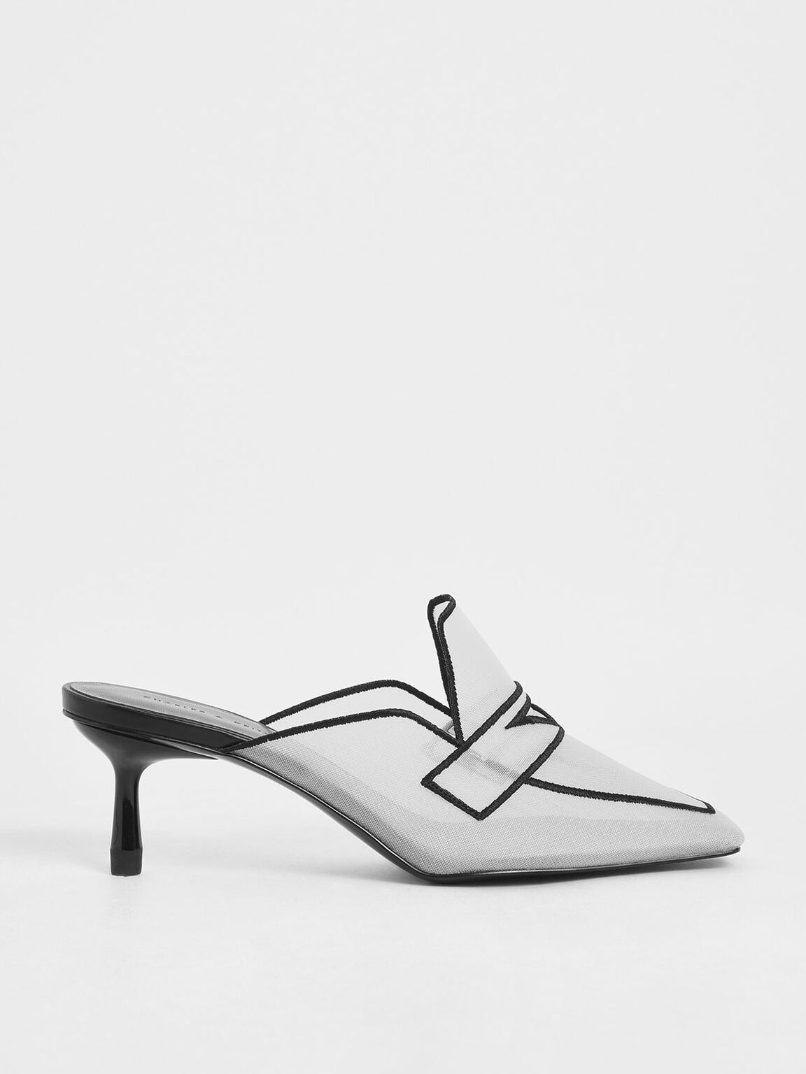 Mesh Loafer Mules, White, hi-res
